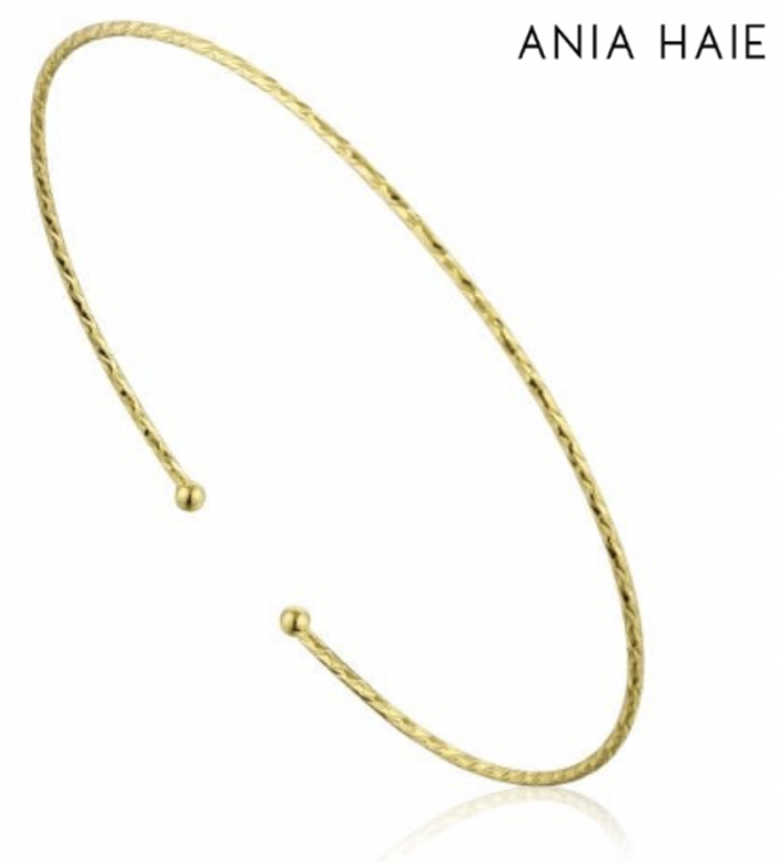 ANIA HAIE Texture Cuff Sterling Silver Gold Plated