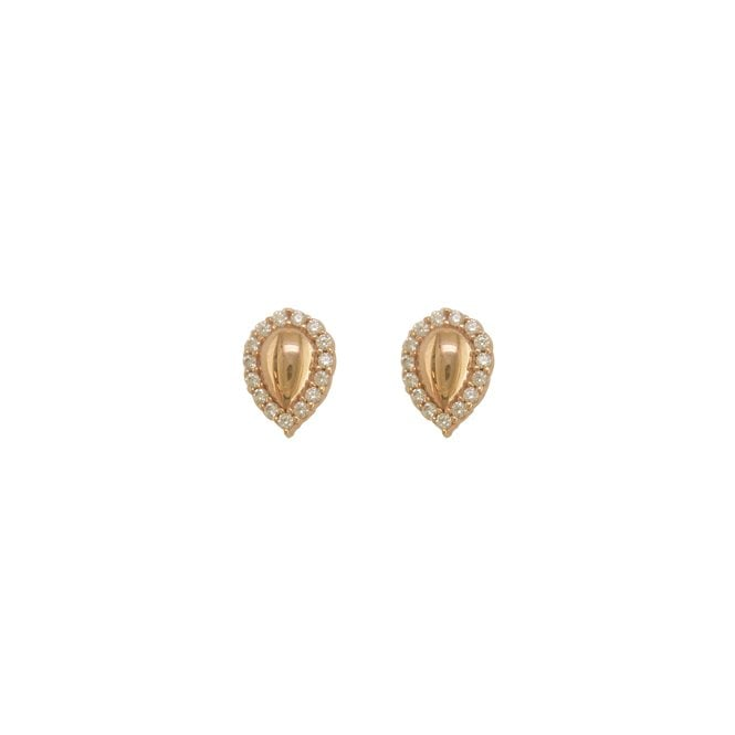 9ct Rose Gold Stone Set Pear Shape Stud Earrings