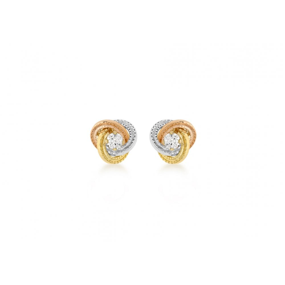 b5e048e1d Gerry Browne Gold 9ct Three Colour Gold Stone Set Knot Stud Earrings ...