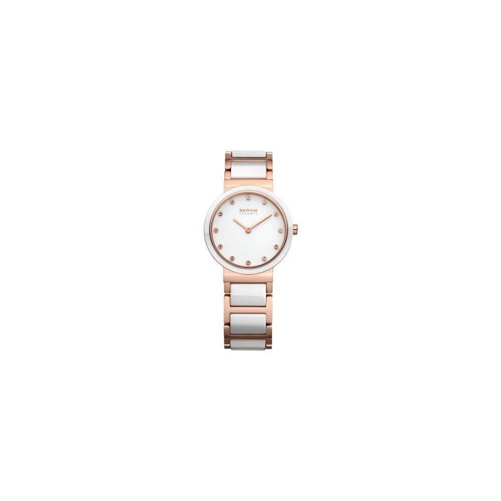 Bering White Ceramic 28mm Case Swarovski Crystal Rose Plated Stainless  Steel and Ceramic Bracelet Watch - Sale Watches from Gerry Browne Jewellers  UK 310f2edc5368