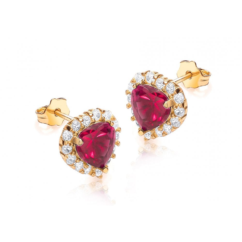 94184f1ec7a09 Gold 9ct White and Red Stone Set Heart Earring