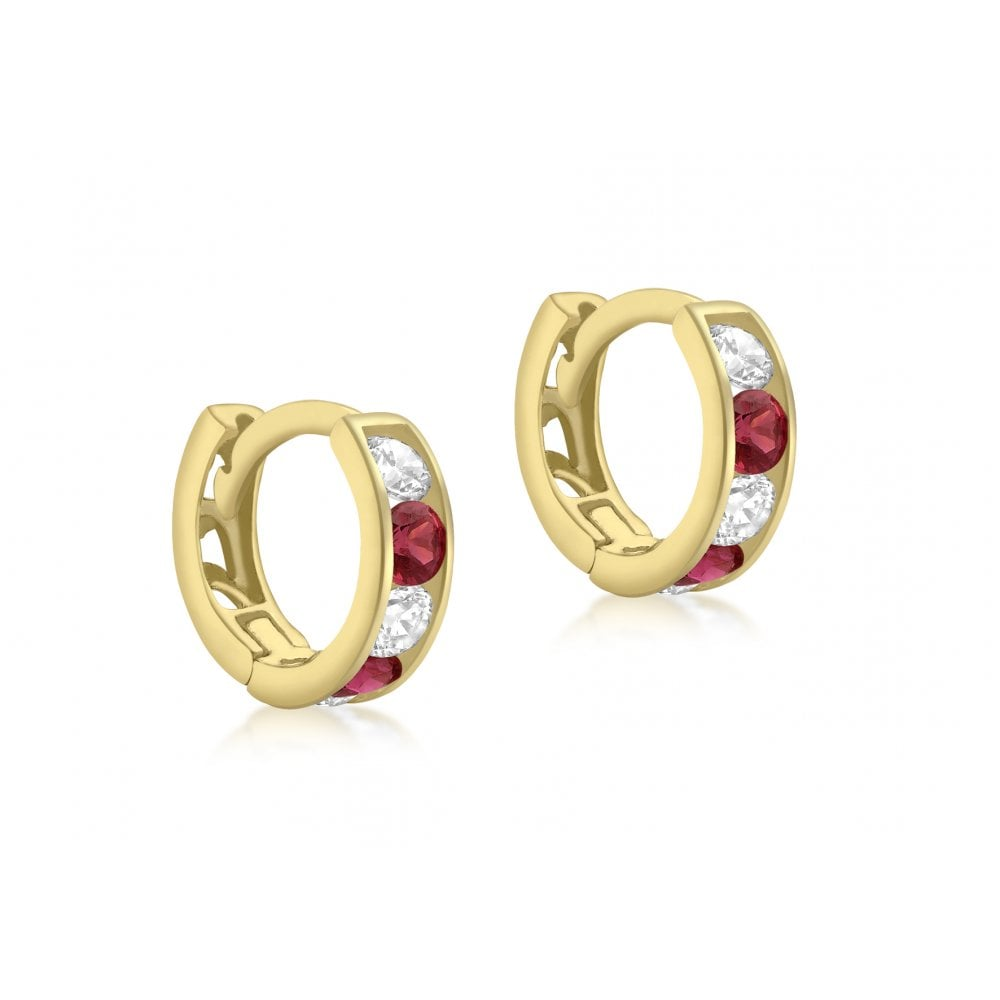 9923f806f2d41 Gold 9ct White and Red Stone Set Hoop Huggie Earring
