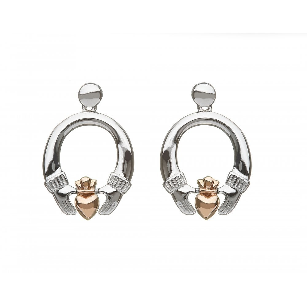 House Of Lor Sterling Silver Irish Gold Celtic Claddagh Earrings