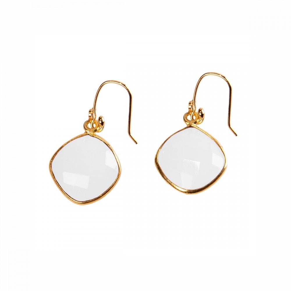 Nilai White Agate Earrings