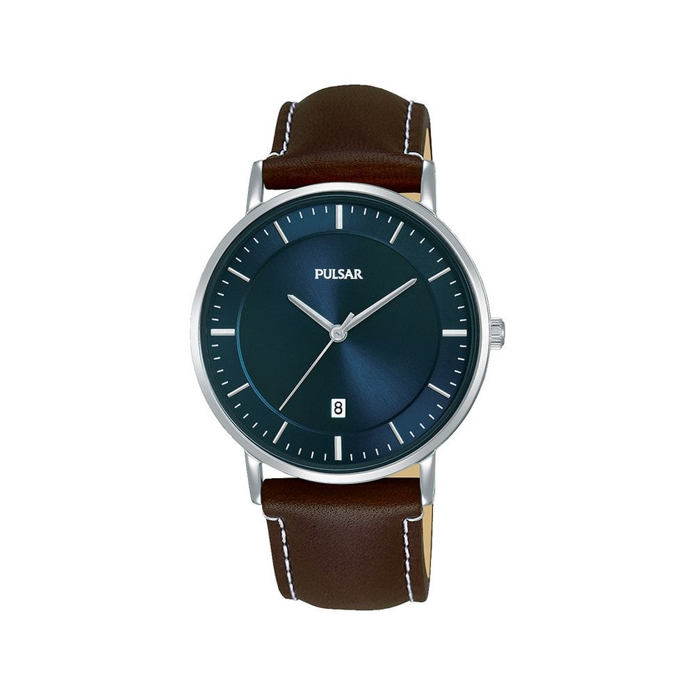Pulsar Quartz Gents Stainless Steel Brown Strap Watch - Products ... 07999abb174