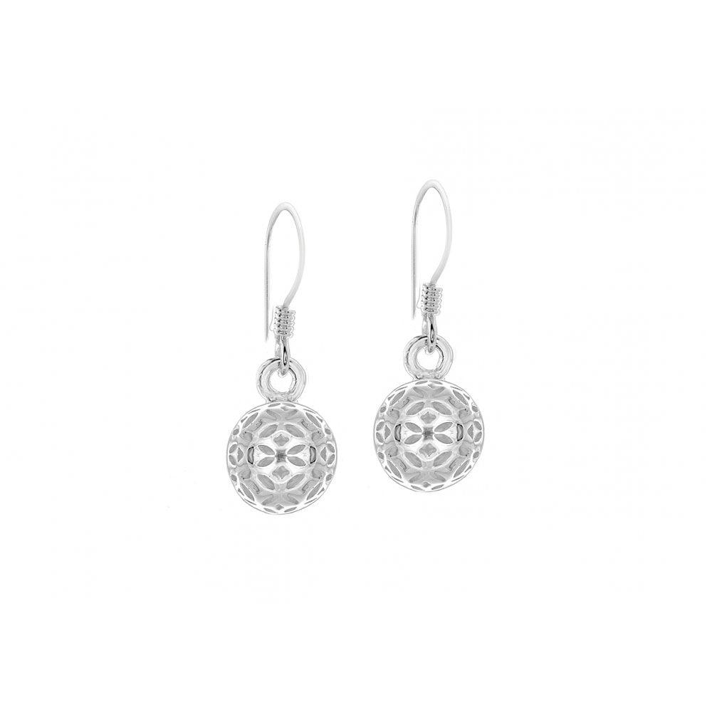 91a3c1bb10828 Pure Sterling Silver Open Pattern Ball Drop Earrings