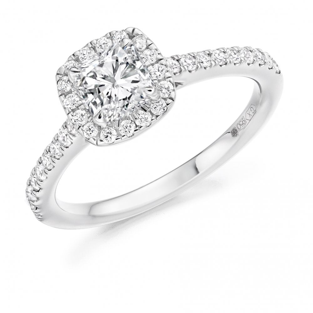 Raphael Platinum Square Cushion Halo Diamond Engagement Ring Jewellery From Gerry Browne Jewellers Uk