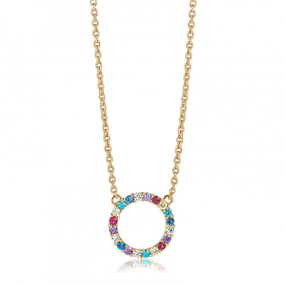 550004822 Sif Jakobs Danish Designed Yellow Gold Plated Sterling Silver Multi  Coloured Stone Set Open Circle Pendant
