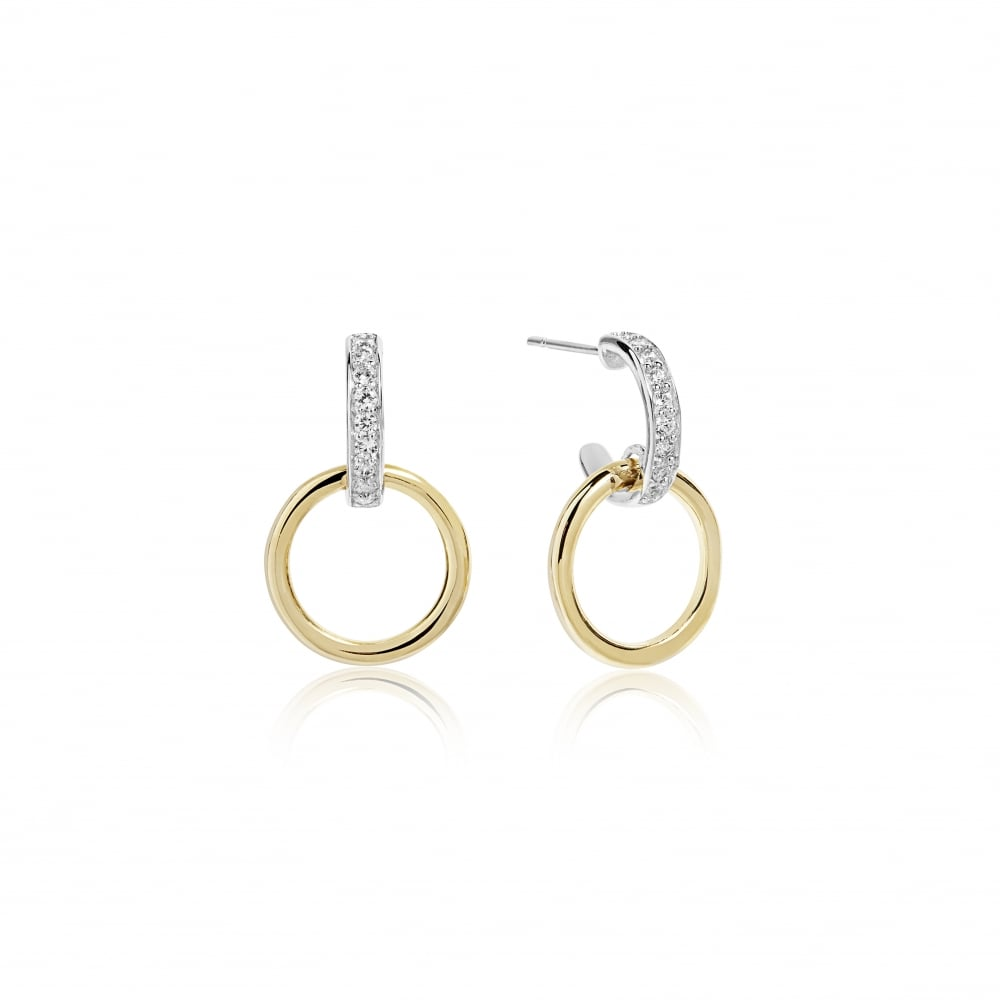 Sterling Siver Yellow Gold Cz Double Hoop Earring