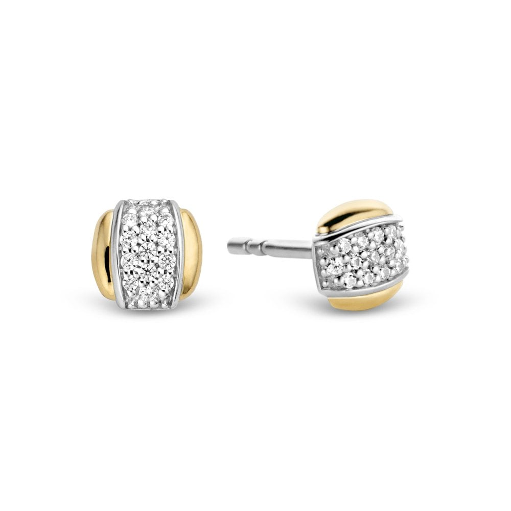 Silver Yellow Gold Plated Stone Set Earring Studs